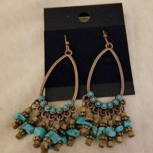 Brass and turquoise chips dangle earrings