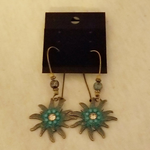 Brass and turquoise sun earrings