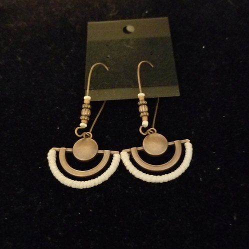 Brass and white beads fan earrings