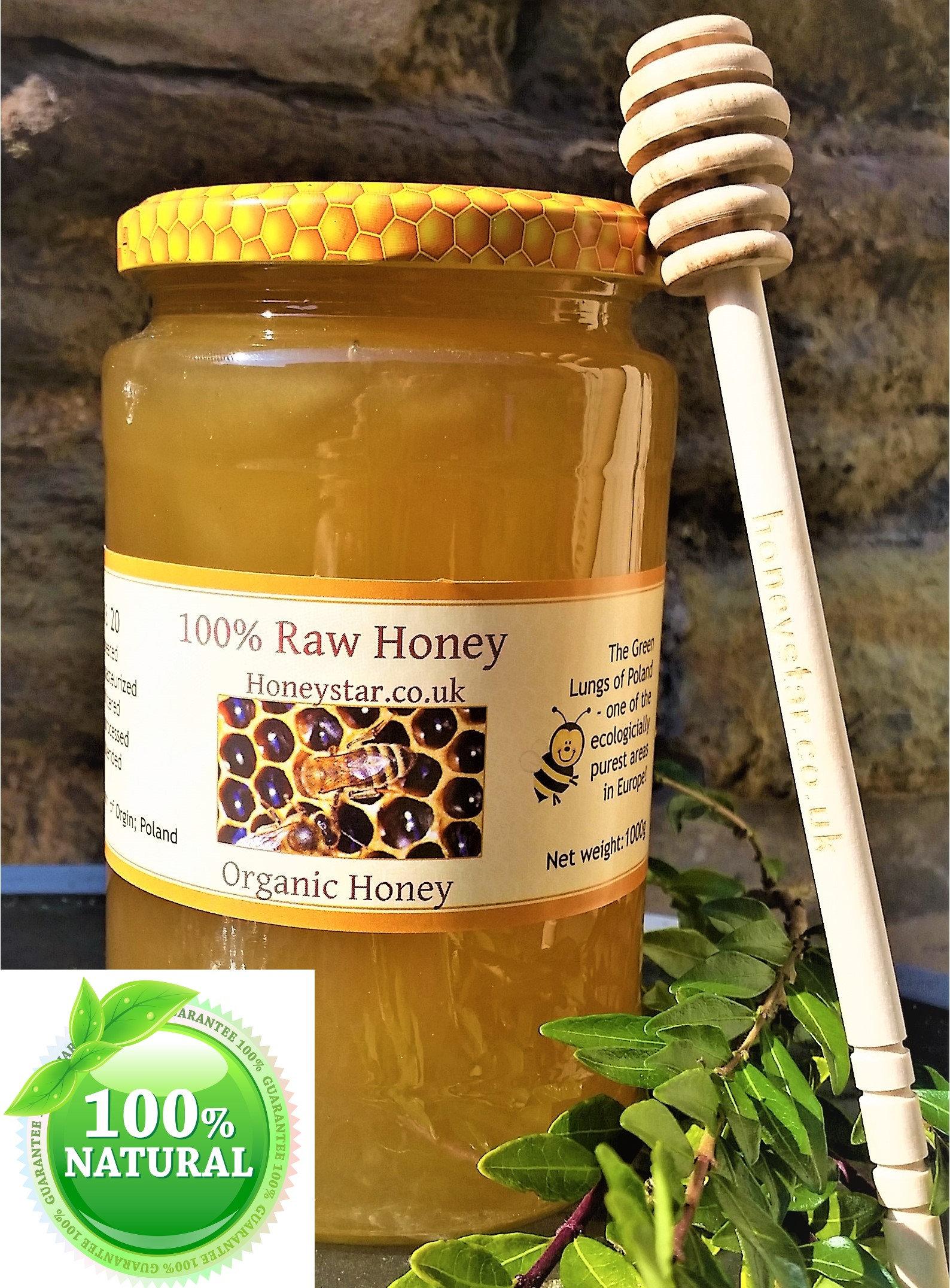 Pure Raw Organic Honey 100% Organic Wild Flower 1 kg Unfiltered Unheated