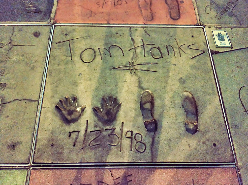 Tom Hanks footprints and handprints Chines Theater