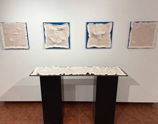 Bone Runner and Bone Napkins Install View, 2020