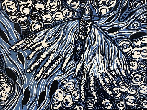 Hand Moth Blue Woodcut