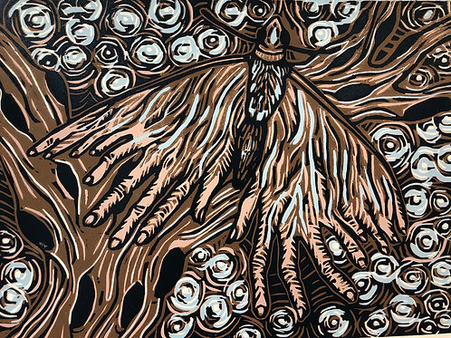 Hand Moth Full Color Woodcut