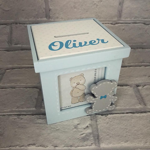 Personalised blue teddy money box