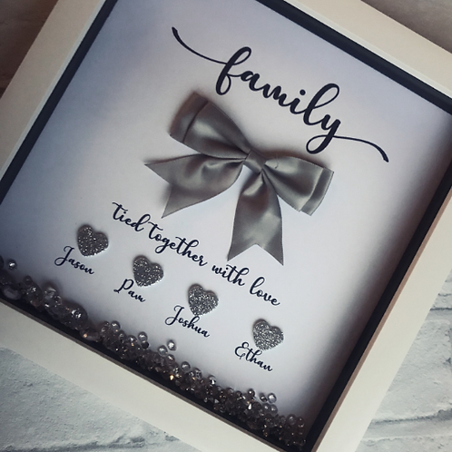Family tied together with love, personalised family frame