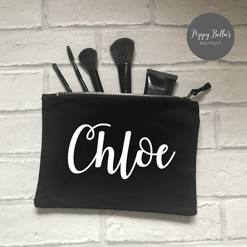 Personalised black make up bag medium
