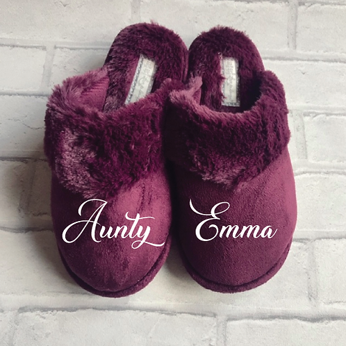 Burgundy Personalised Slippers