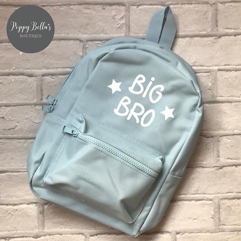 Big Bro, Lil Bro matching backpacks (set of 2) star design in blue
