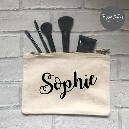 Personalised natural make up bag medium