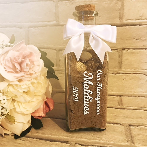 Personalised honeymoon sand, keepsake jars