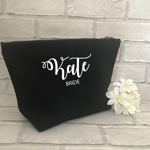 Personalised make up bag for the Bride