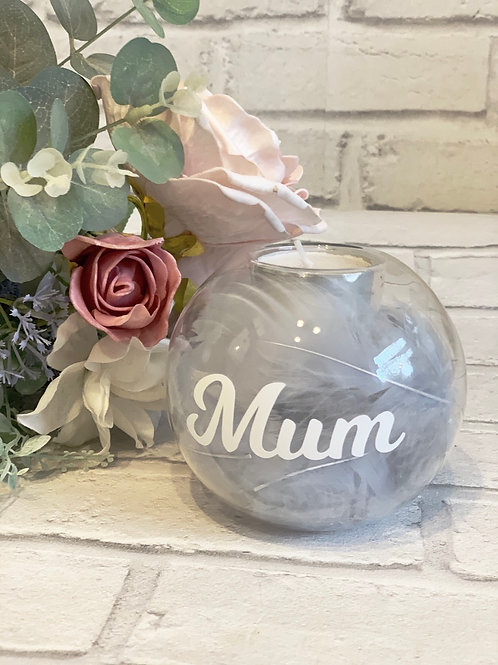 Personalised grey feather filled tealight candle holder