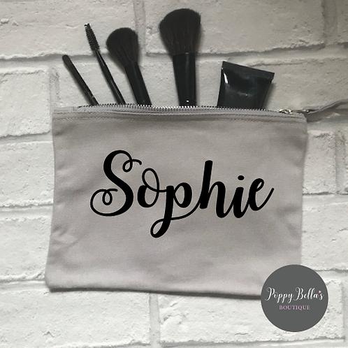 Personalised grey make up bag medium