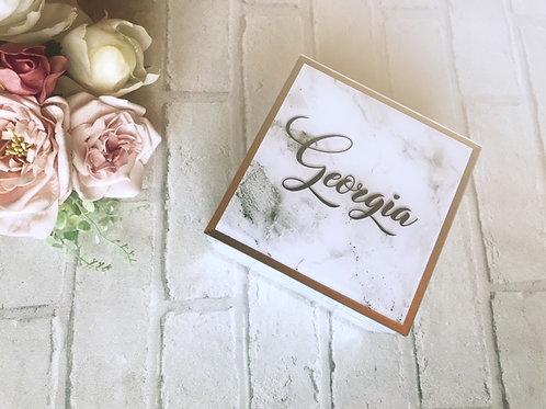Personalised mirrored marble jewellery box