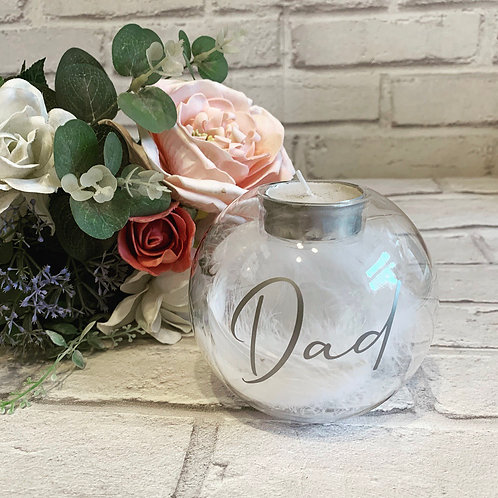 Personalised white feather filled tealight candle holder