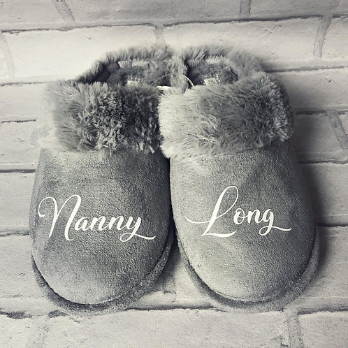 Grey Personalised Slippers