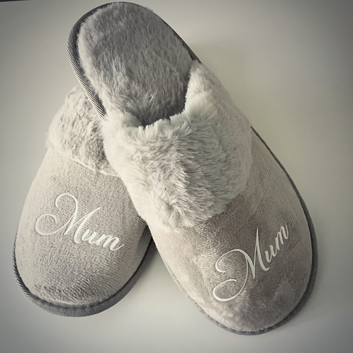 Grey personalised comfy slippers