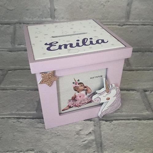 Personalised unicorn money box in purple