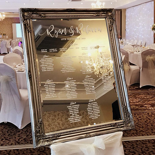 Luxury personalised mirror table plan