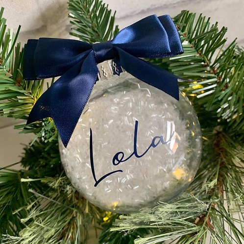 Personalised Bauble Navy & White