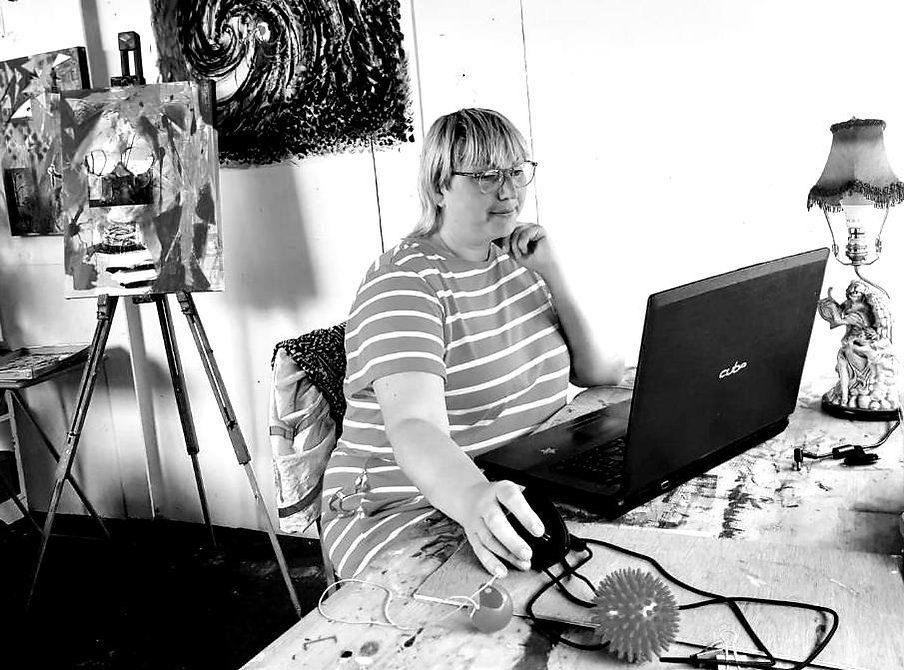 Bristol based artist Sadie Phew working in her studio at Bannerman Buildings. Arts admin, terms and conditions and funding applications