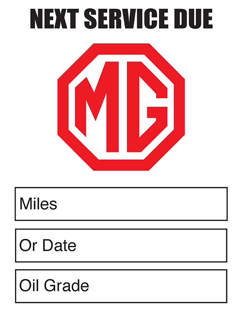MG (Red) Oil Change Stickers