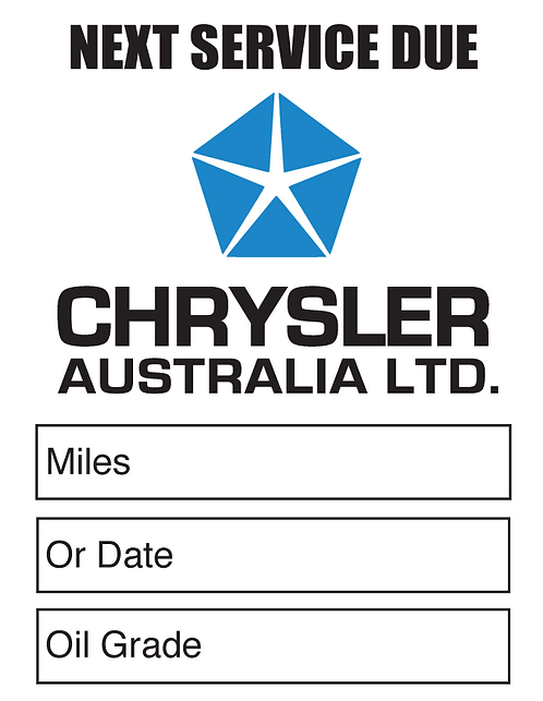 CHRYSLER AUST Oil Change Stickers