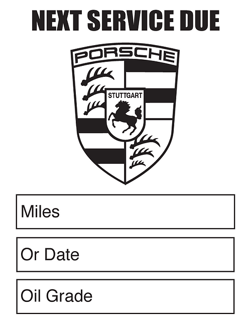 PORSCHE Oil Change Stickers