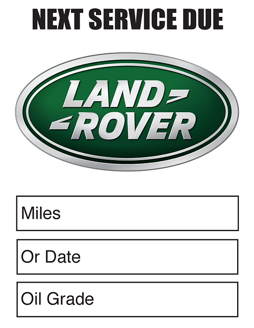LAND ROVER Oil Change Stickers