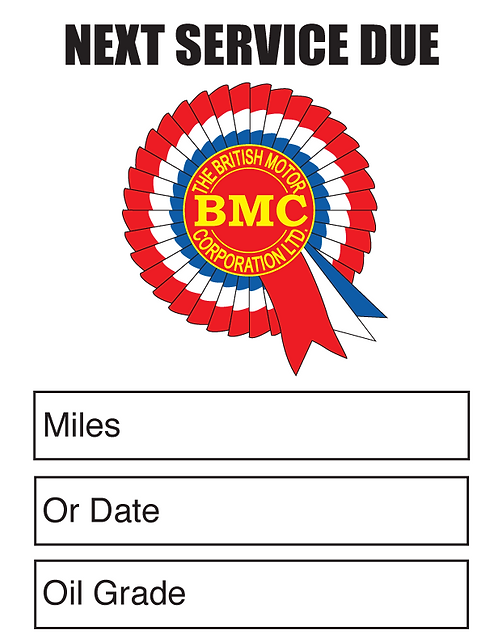 BMC Oil Change Stickers