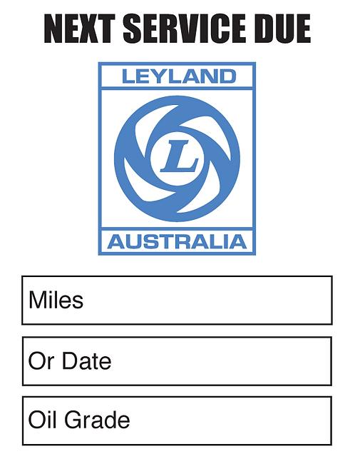 LEYLAND AUST Oil Change Stickers