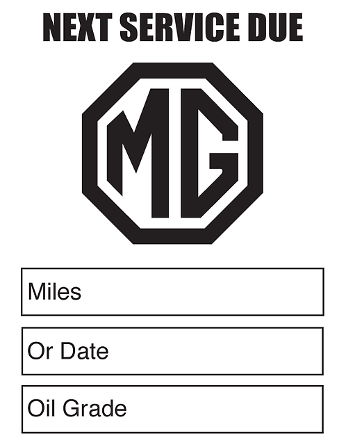 MG (Black) Oil Change Stickers