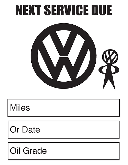 Classic VW Oil Change Stickers
