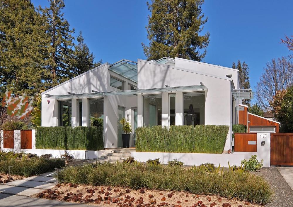 hyper modern house and garden