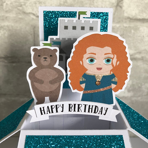 Brave Merida Glitter Birthday Box Card