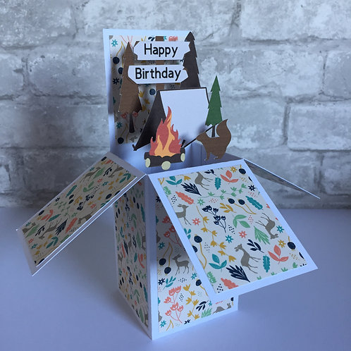 Camping Birthday Box Card