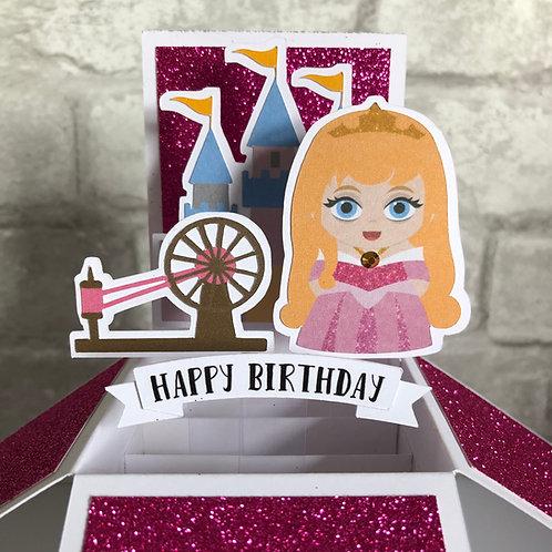 Sleeping Beauty Aurora Glitter Birthday Box Card