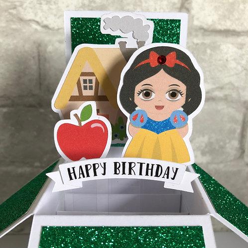 Snow White Glitter Birthday Box Card