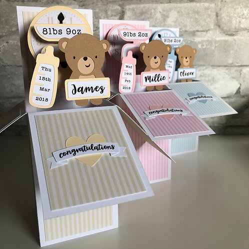 New Baby Personalised Box Card