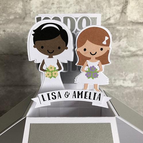 Mrs & Mrs Personalised Wedding Couple Box Card