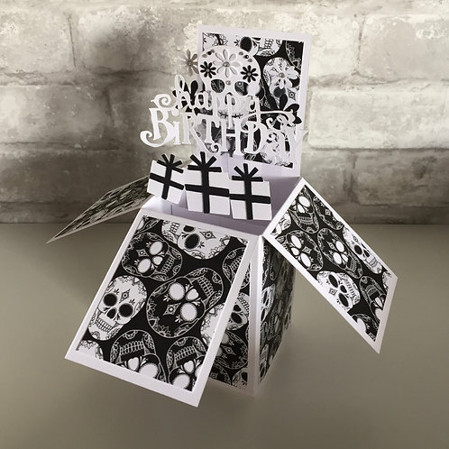 Monochrome Sugar Skull Birthday Card