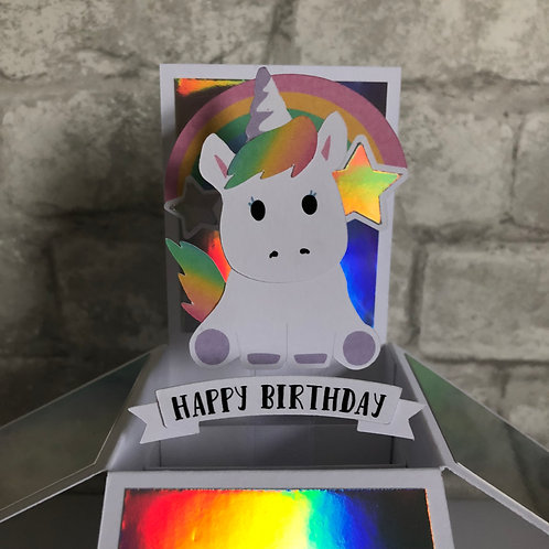 Unicorn Birthday Box Card