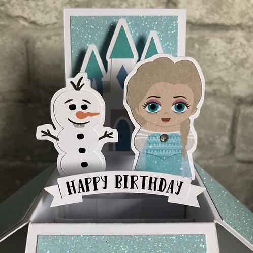 Frozen Elsa Glitter Birthday Box Card