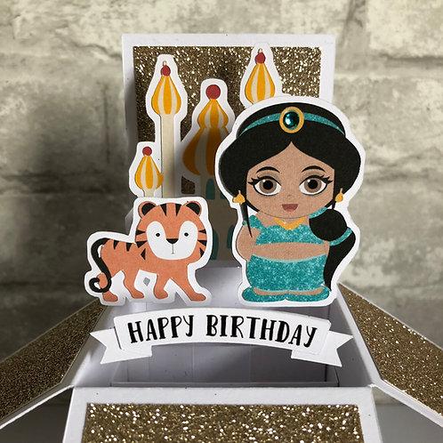 Princess Jasmine Glitter Birthday Box Card