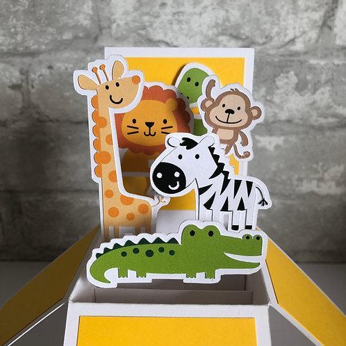Zoo Animal Birthday Box Card