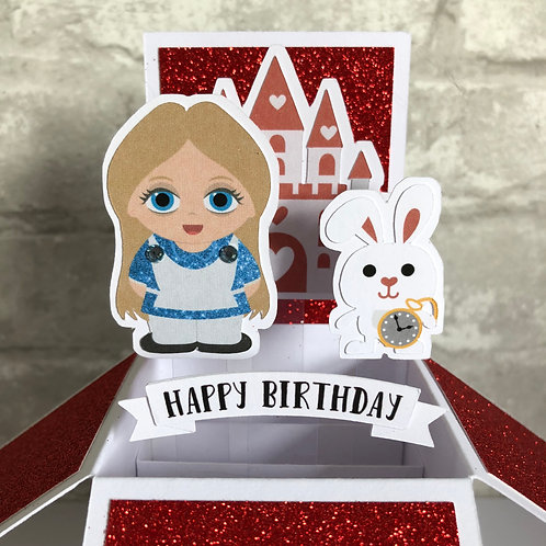 Alice in Wonderland Glitter Birthday Box Card