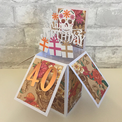 Colour Sugar Skull Birthday Card