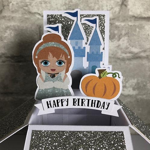 Cinderella Glitter Birthday Box Card