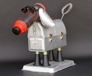RR-216-19.jpg upcycled art from old lunch box, reused candle stick holders, vintage thermos, recycld binoculars, repurposed shoe forms and kitchen items